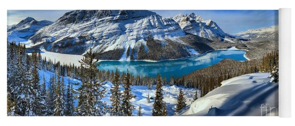 Peyto Lake Winter Panorama Yoga Mat