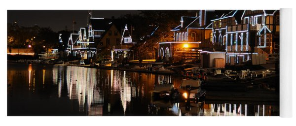 Philadelphia Boathouse Row At Night Yoga Mat