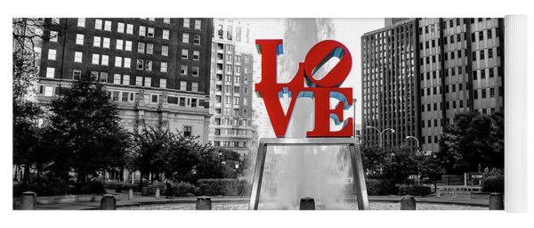 Yoga Mat featuring the photograph Philadelphia - Love Statue - Black And White And Color by Bill Cannon