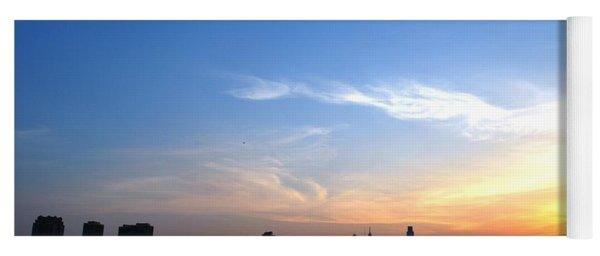 Philadelphia Skyline Low Horizon Sunset Yoga Mat