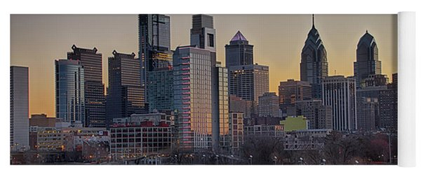Yoga Mat featuring the photograph Philly Before Dawn From South Street by Bill Cannon