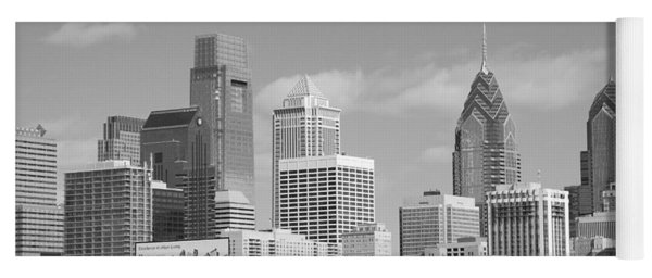 Philly Skyscrapers Black And White Yoga Mat