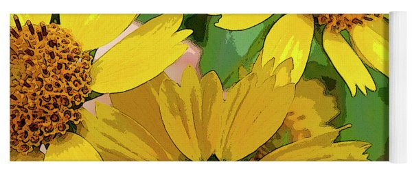 Yellow Wildflowers Photograph II Yoga Mat
