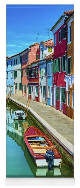 Picturesque Buildings And Boats In Burano Yoga Mat