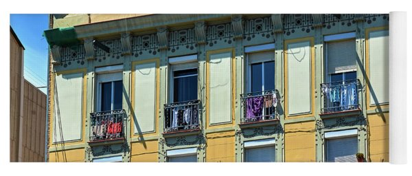 Yoga Mat featuring the photograph Picturesque Yellow Building In Barcelona by Eduardo Jose Accorinti