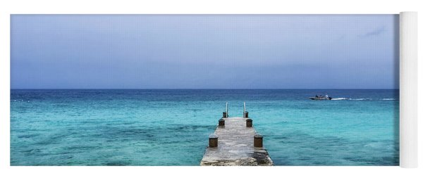 Pier On Caribbean Sea With Boat Yoga Mat