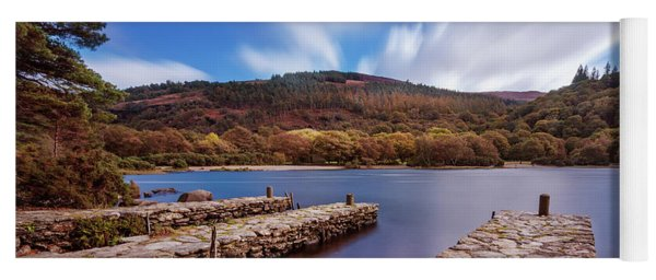 Yoga Mat featuring the photograph Pier On The Upper Lake In Glendalough - Wicklow, Ireland by Barry O Carroll