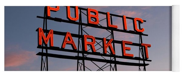 Seattle Pike Place Market Sign Yoga Mat