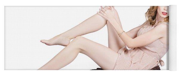 Pin Up Woman Posing In Retro Fashion On Throw Rug Yoga Mat