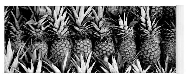 Pineapples In B/w Yoga Mat