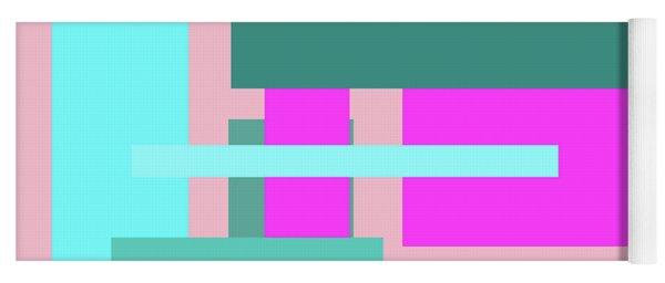 Pink And Blue Blocks Abstract Yoga Mat