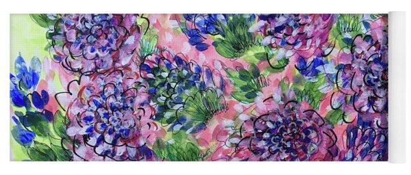 Pink And Blue Flower Flurry Yoga Mat