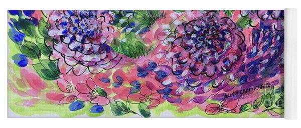 Pink And Blue Flower Flurry Yoga Mat