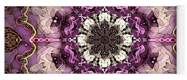 Pink And Gold Marble Tile Yoga Mat
