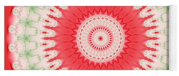 Pink And Green Mandala Fractal 001 Yoga Mat