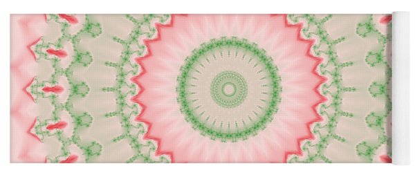 Pink And Green Mandala Fractal 004 Yoga Mat