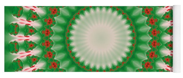 Pink And Green Mandala Fractal 005 Yoga Mat