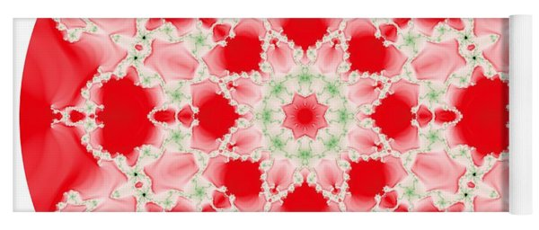 Pink And Green Watercolor Snowflake Fractal Yoga Mat