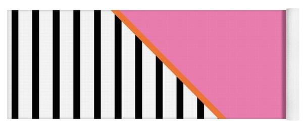 Pink And Orange And Black Geometric Yoga Mat