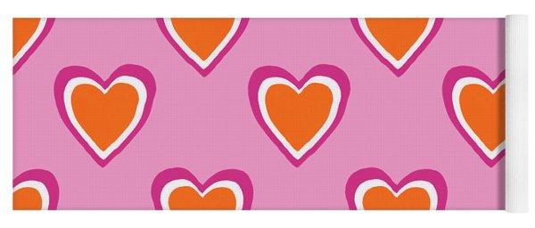 Pink And Orange Hearts- Art By Linda Woods Yoga Mat