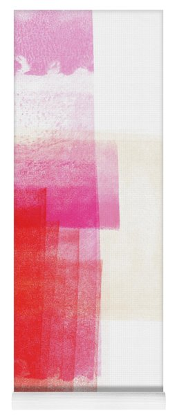 Pink And Red Minimalist Abstract Art By Linda Woods Yoga Mat
