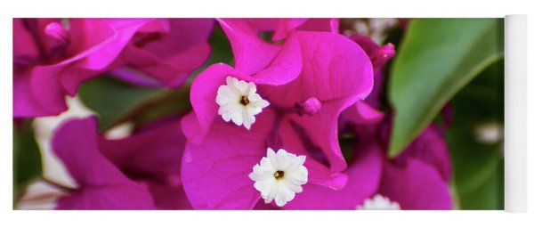 Pink And White Flowers Yoga Mat