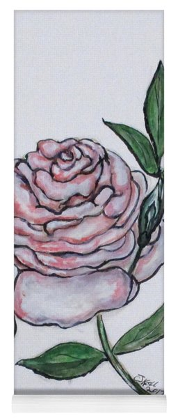Pink And White Rose Yoga Mat