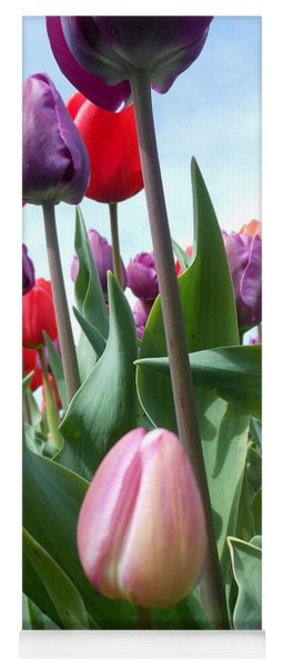 Pink Baby In Tulip Garden Yoga Mat