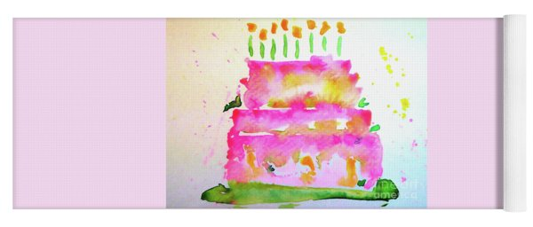 Yoga Mat featuring the painting Pink Birthday Cake by Claire Bull