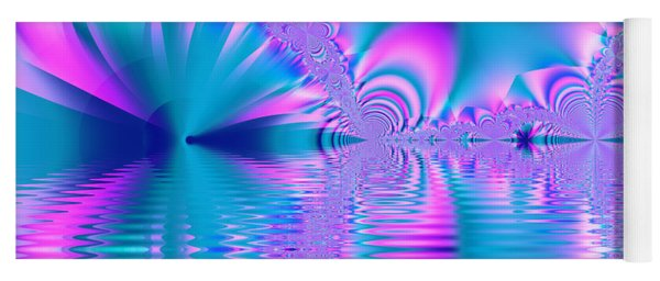 Pink, Blue And Turquoise Fractal Lake Yoga Mat
