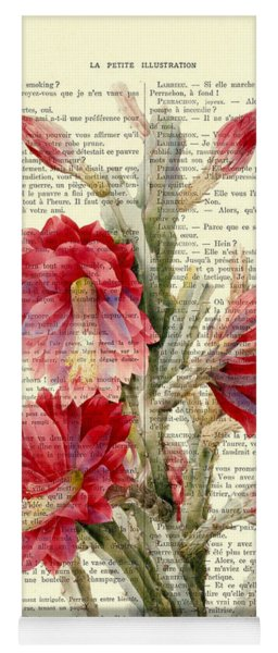 Pink Cactus Flower Vintage Book Page Collage Yoga Mat
