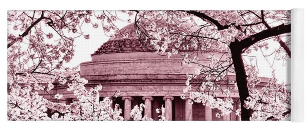 Pink Cherry Trees At The Jefferson Memorial Yoga Mat