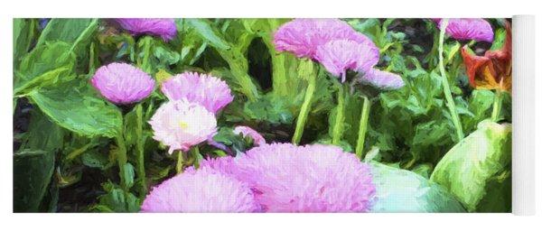 Pink Chrysanthemums In Monets Garden  Yoga Mat