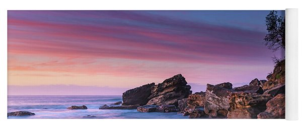 Pink Clouds And Rocky Headland Seascape Yoga Mat