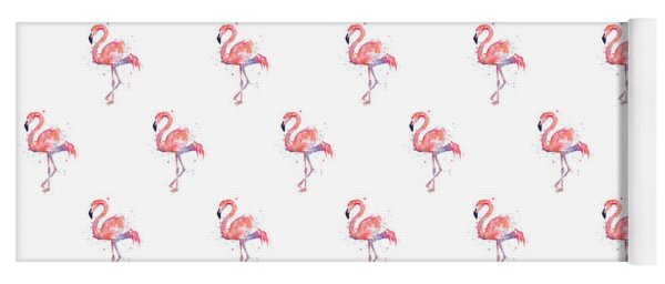 Pink Flamingo Watercolor Pattern Yoga Mat