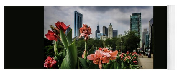 Pink Flowers And Chicago Skyline Yoga Mat