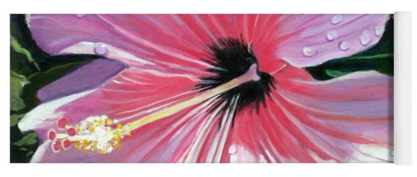 Pink Hibiscus With Raindrops Yoga Mat