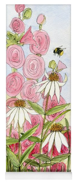 Pink Hollyhock And White Coneflowers Yoga Mat