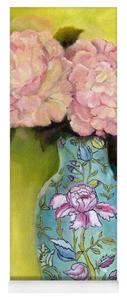 Pink Peonies In An Aqua Vase Yoga Mat