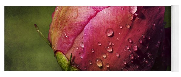 Yoga Mat featuring the photograph Pink Peony Bud With Dew Drops by Patti Deters