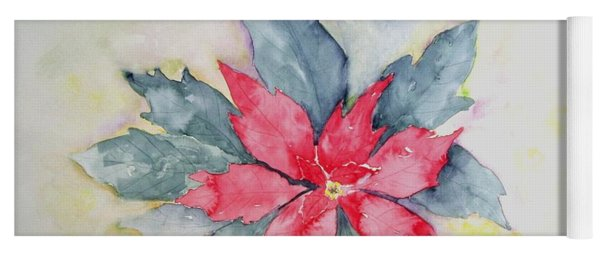 Pink Poinsetta On Blue Foliage Yoga Mat
