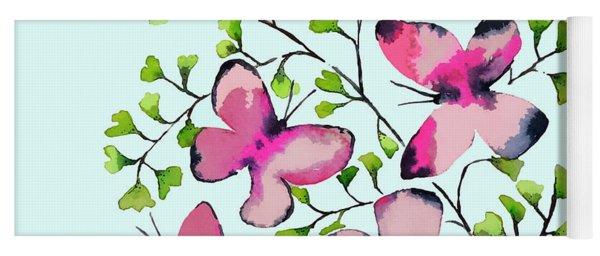 Pink Profusion Butterflies Yoga Mat