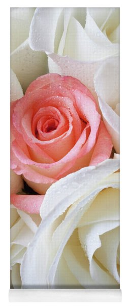Pink Rose Among White Roses Yoga Mat
