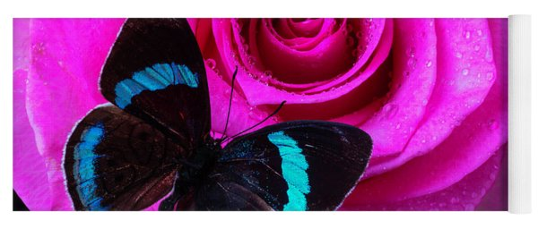 Pink Rose And Black Blue Butterfly Yoga Mat