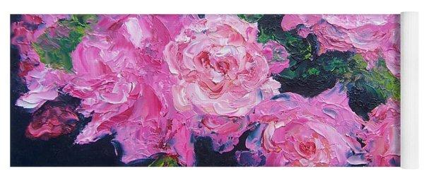 Pink Roses Oil Painting Yoga Mat