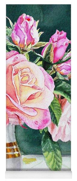 Pink Roses Summer Bouquet  Yoga Mat