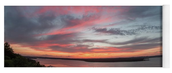 Pink Skies And Clouds At Sunset Over Lake Travis In Austin Texas Yoga Mat