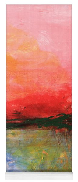 Pink Sky Over Water Abstract Yoga Mat