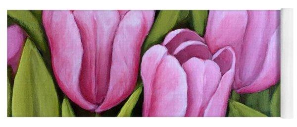 Pink Spring Tulips Yoga Mat