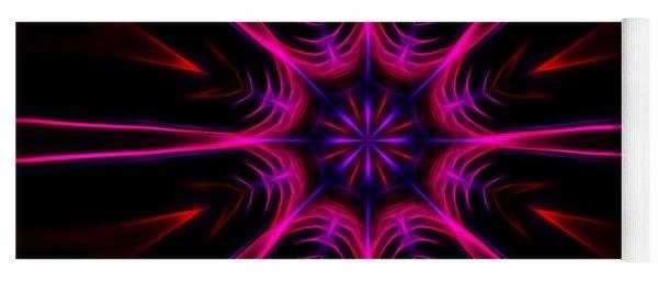 Pink Starburst Fractal  Yoga Mat